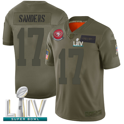 49ers #17 Emmanuel Sanders Camo Super Bowl LIV Bound Youth Stitched Football Limited 2019 Salute to Service Jersey