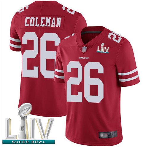 49ers #26 Tevin Coleman Red Team Color Super Bowl LIV Bound Youth Stitched Football Vapor Untouchable Limited Jersey