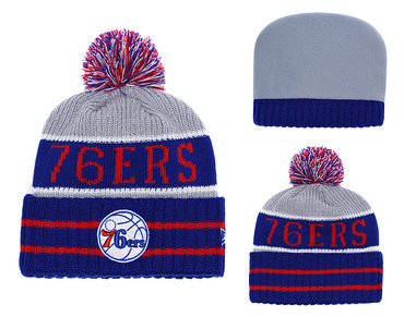 76ers Royal Banner Block Cuffed Knit Hat With Pom YD