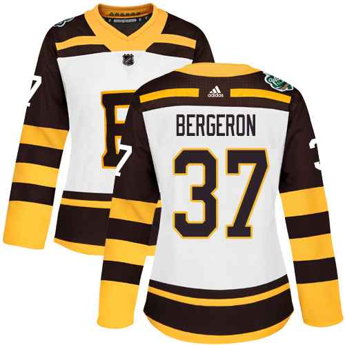 Adidas Bruins #37 Patrice Bergeron White Authentic 2019 Winter Classic Women's Stitched NHL Jersey