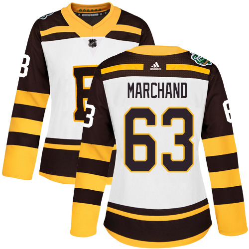 Adidas Bruins #63 Brad Marchand White Authentic 2019 Winter Classic Women's Stitched NHL Jersey