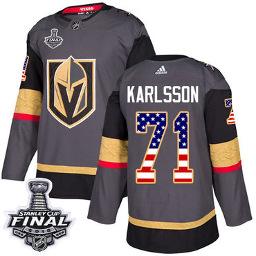 12f3c0987 Adidas Golden Knights  71 William Karlsson Grey Home Authentic USA Flag  2018 Stanley Cup Final Stitched NHL Jersey