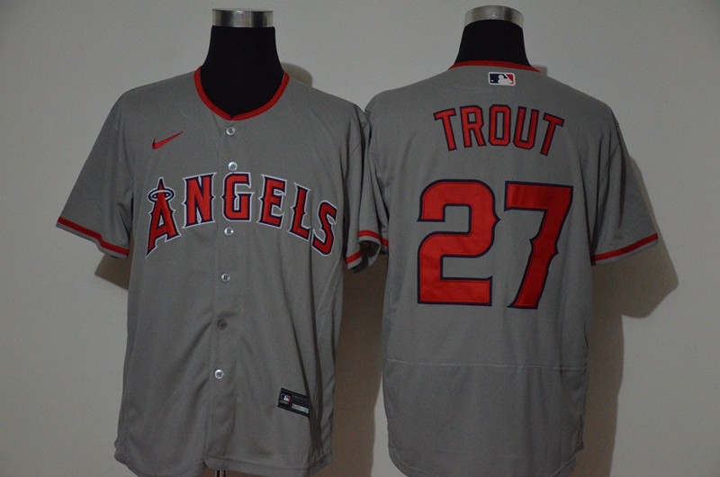 Angels 27 Mike Trout Gray 2020 Nike Flexbase Jersey