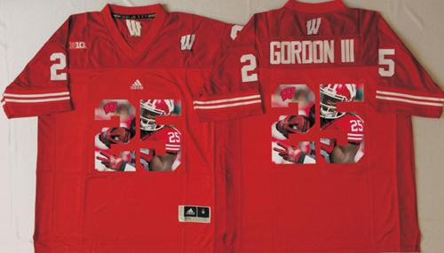 Badgers #25 Melvin Gordon III Red Player Fashion Stitched NCAA Jersey