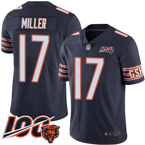 Bears #17 Anthony Miller Navy Blue Team Color Men's Stitched Football 100th Season Vapor Limited Jersey