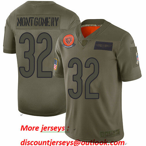 Bears #32 David Montgomery Camo Youth Stitched Football Limited 2019 Salute to Service Jersey