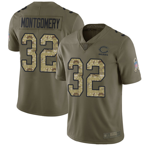 Bears #32 David Montgomery Olive Camo Youth Stitched Football Limited 2017 Salute to Service Jersey