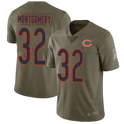 Bears #32 David Montgomery Olive Youth Stitched Football Limited 2017 Salute to Service Jersey
