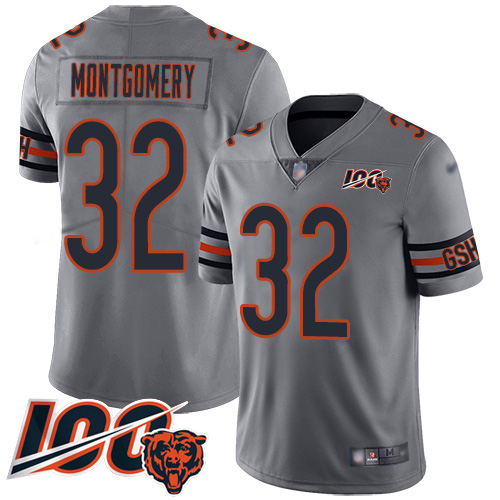 Bears #32 David Montgomery Silver Men's Stitched Football Limited Inverted Legend 100th Season Jersey