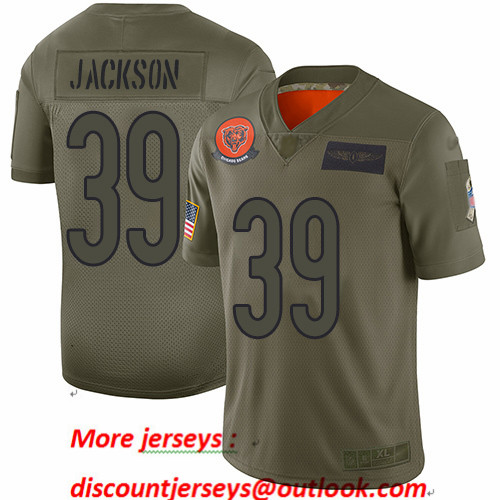 Bears #39 Eddie Jackson Camo Youth Stitched Football Limited 2019 Salute to Service Jersey