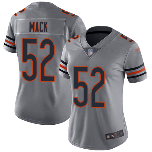 Bears #52 Khalil Mack Silver Women's Stitched Football Limited Inverted Legend Jersey