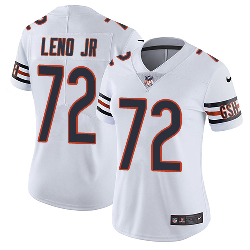 Bears #72 Charles Leno Jr White Women's Stitched Football Vapor Untouchable Limited Jersey