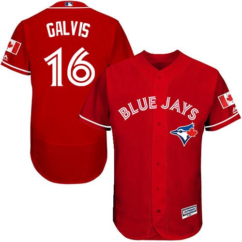 Blue Jays #16 Freddy Galvis Red Flexbase Authentic Collection Canada Day Stitched Baseball Jersey