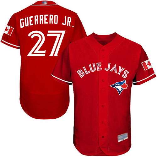 Blue Jays #27 Vladimir Guerrero Jr. Red Flexbase Authentic Collection Canada Day Stitched Baseball Jersey