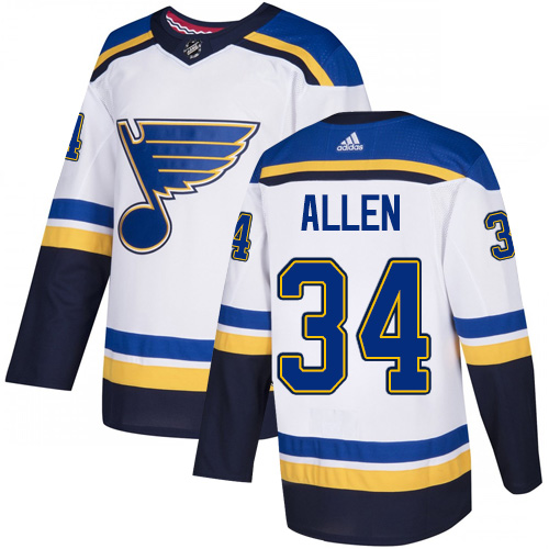 Blues #34 Jake Allen White Road Authentic Stitched Hockey Jersey