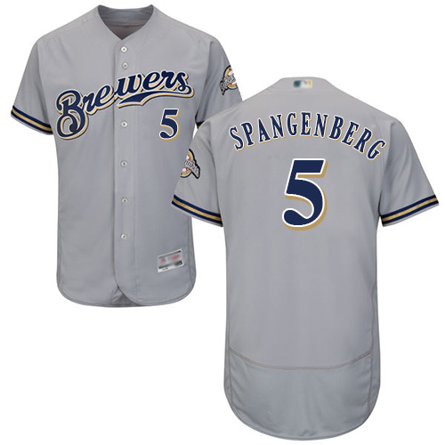 Brewers #5 Cory Spangenberg Grey Flexbase Authentic Collection Stitched Baseball Jersey