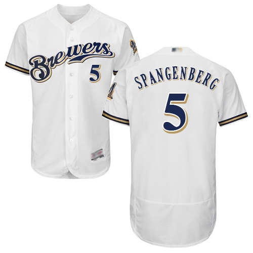 Brewers #5 Cory Spangenberg White Flexbase Authentic Collection Stitched Baseball Jersey