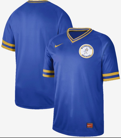 Brewers Blank Royal Authentic Cooperstown Collection Stitched Baseball Jersey