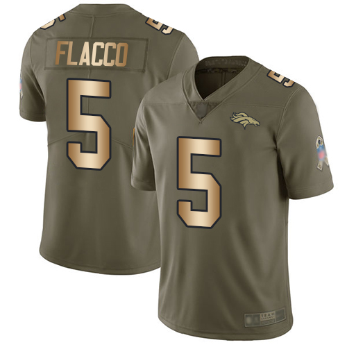 Broncos #5 Joe Flacco Olive Gold Men's Stitched Football Limited 2017 Salute To Service Jersey