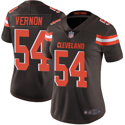 Browns #54 Olivier Vernon Brown Team Color Women's Stitched Football Vapor Untouchable Limited Jersey