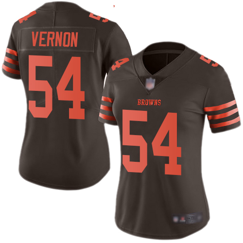 Browns #54 Olivier Vernon Brown Women's Stitched Football Limited Rush Jersey