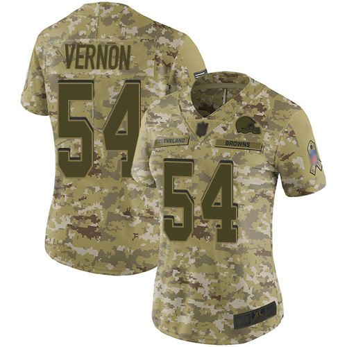Browns #54 Olivier Vernon Camo Women's Stitched Football Limited 2018 Salute to Service Jersey
