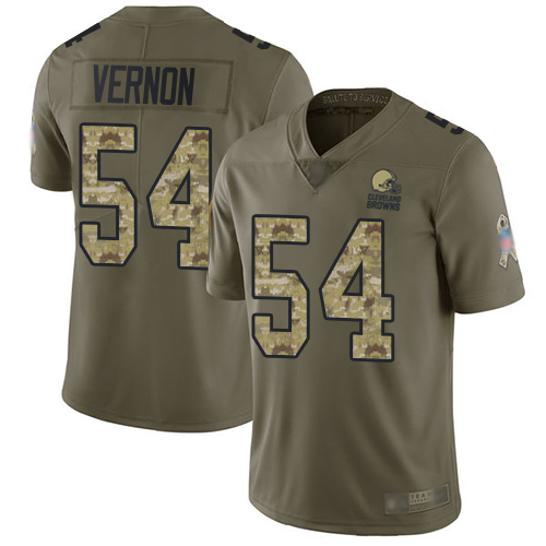 Browns #54 Olivier Vernon Olive Camo Youth Stitched Football Limited 2017 Salute to Service Jersey