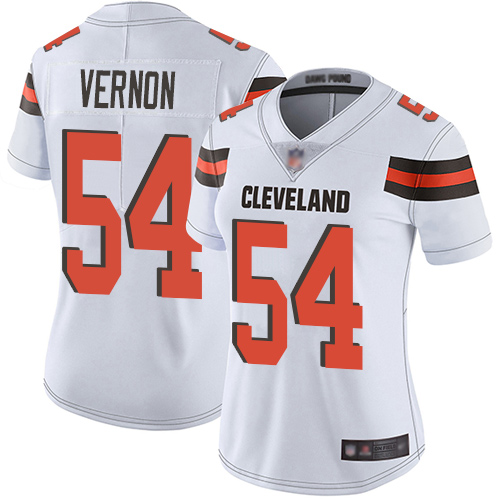 Browns #54 Olivier Vernon White Women's Stitched Football Vapor Untouchable Limited Jersey