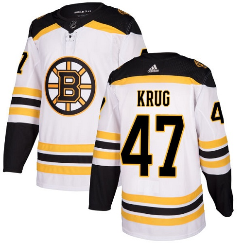 Bruins #47 Torey Krug White Road Authentic Stitched Hockey Jersey
