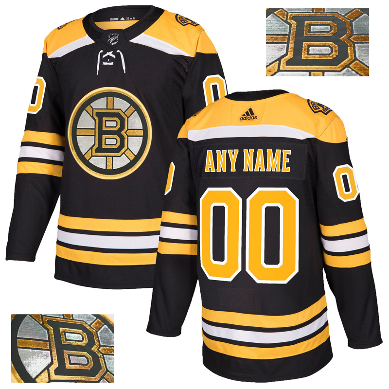 Bruins Men's Customized Black With Special Glittery Logo Adidas Jersey