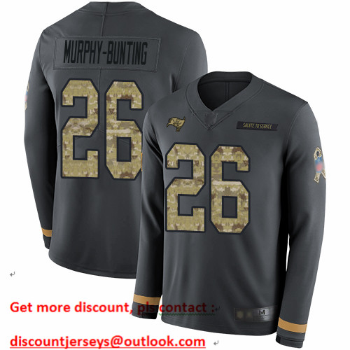 Buccaneers #26 Sean Murphy-Bunting Anthracite Salute to Service Men's Stitched Football Limited Therma Long Sleeve Jersey