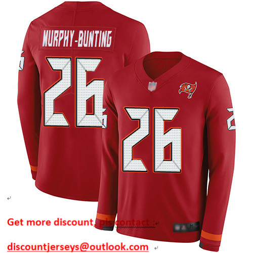 Buccaneers #26 Sean Murphy-Bunting Red Team Color Men's Stitched Football Limited Therma Long Sleeve Jersey