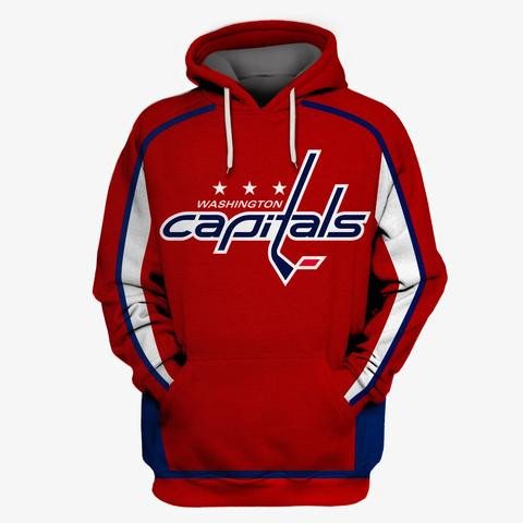 Capitals Red All Stitched Hooded Sweatshirt