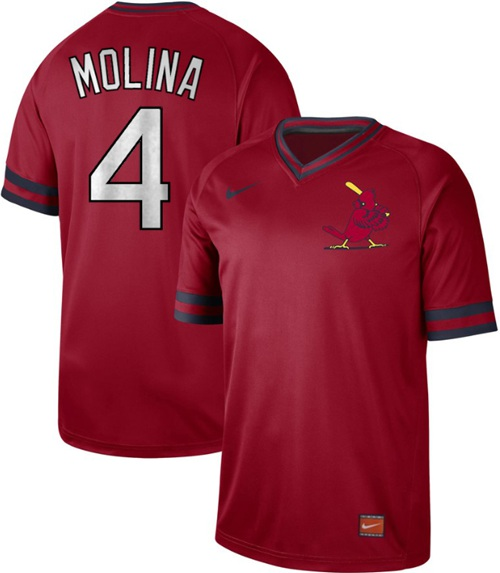 Cardinals #4 Yadier Molina Red Authentic Cooperstown Collection Stitched Baseball Jersey