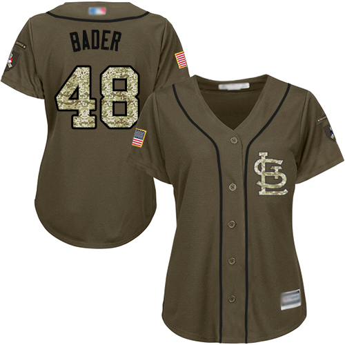 Cardinals #48 Harrison Bader Green Salute to Service Women's Stitched Baseball Jersey