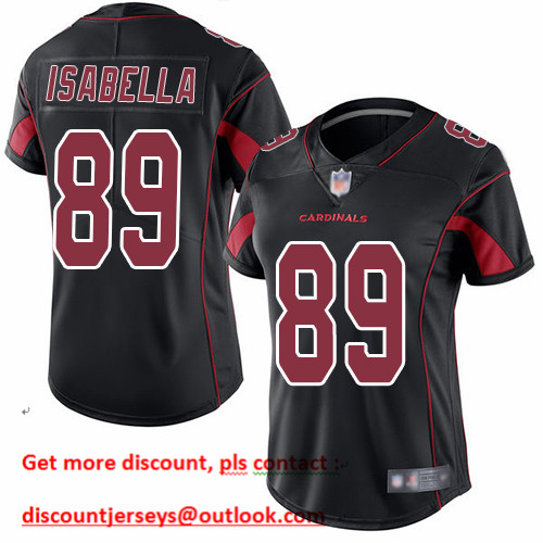 Cardinals #89 Andy Isabella Black Women's Stitched Football Limited Rush Jersey