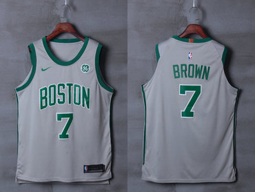 low priced fcd0a 16aa5 Celtics 7 Jaylen Brown Gray City Edition Nike Authentic Jersey