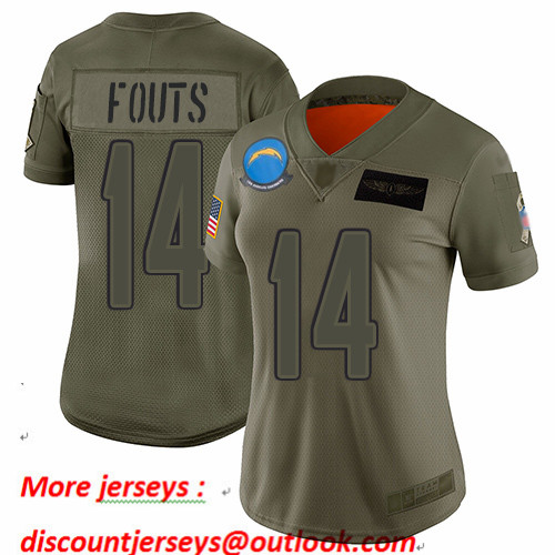 Chargers #14 Dan Fouts Camo Women's Stitched Football Limited 2019 Salute to Service Jersey