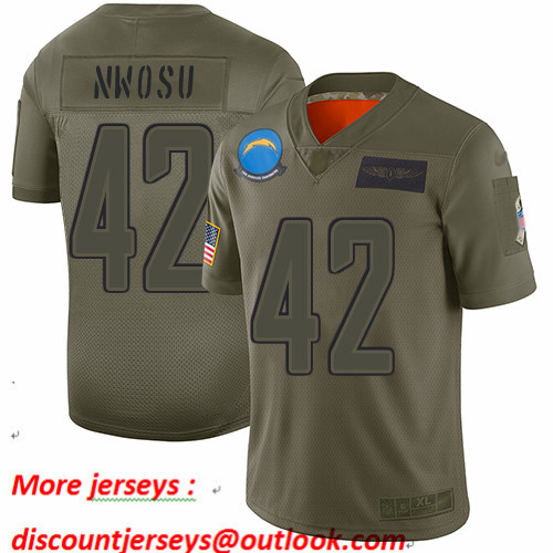 Chargers #42 Uchenna Nwosu Camo Men's Stitched Football Limited 2019 Salute To Service Jersey