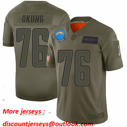 Chargers #76 Russell Okung Camo Men's Stitched Football Limited 2019 Salute To Service Jersey