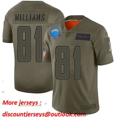 Chargers #81 Mike Williams Camo Men's Stitched Football Limited 2019 Salute To Service Jersey