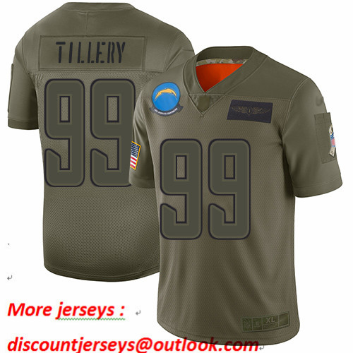 Chargers #99 Jerry Tillery Camo Men's Stitched Football Limited 2019 Salute To Service Jersey