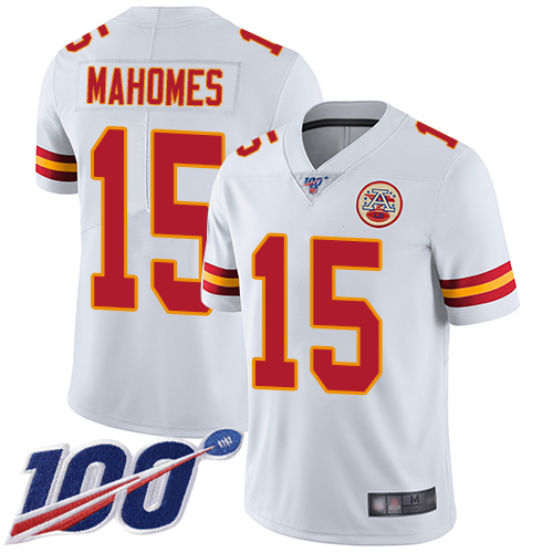 Chiefs #15 Patrick Mahomes White Youth Stitched Football 100th Season Vapor Limited Jersey
