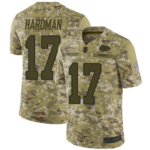 Chiefs #17 Mecole Hardman Camo Youth Stitched Football Limited 2018 Salute to Service Jersey