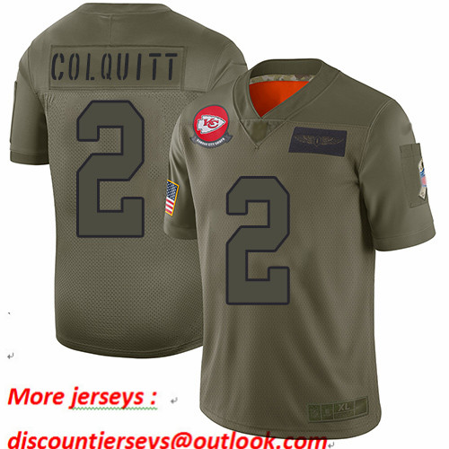 Chiefs #2 Dustin Colquitt Camo Youth Stitched Football Limited 2019 Salute to Service Jersey