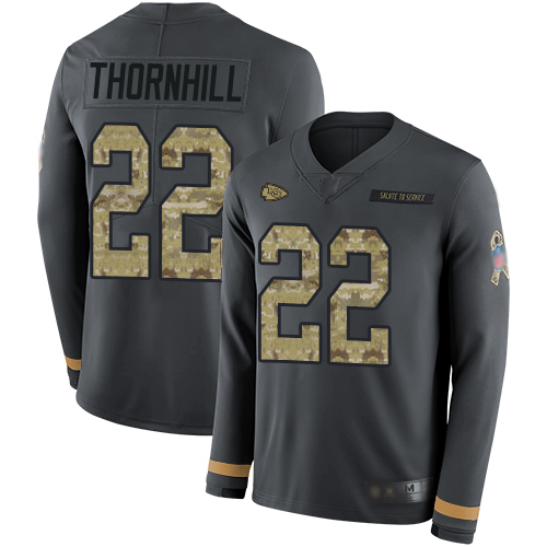 Chiefs #22 Juan Thornhill Anthracite Salute to Service Men's Stitched Football Limited Therma Long Sleeve Jersey