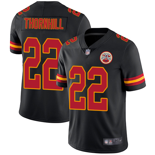Chiefs #22 Juan Thornhill Black Youth Stitched Football Limited Rush Jersey