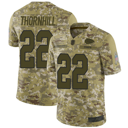 Chiefs #22 Juan Thornhill Camo Youth Stitched Football Limited 2018 Salute to Service Jersey