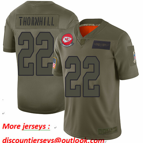 Chiefs #22 Juan Thornhill Camo Youth Stitched Football Limited 2019 Salute to Service Jersey