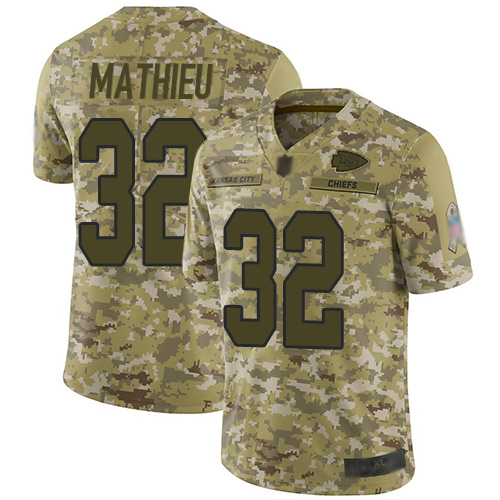Chiefs #32 Tyrann Mathieu Camo Youth Stitched Football Limited 2018 Salute to Service Jersey